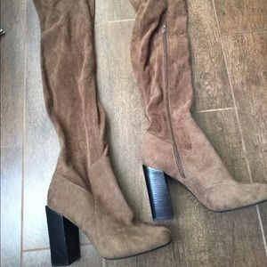 NWT Jeffery Campbell brown thigh high boots Sz 8M